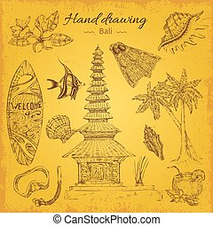 Hand Drawing Balinese Background - Isolated hand drawn bali...