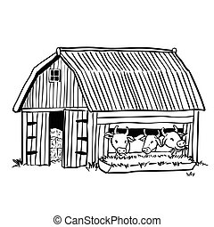 Hand drawing barn with three cows-Vector Illustration