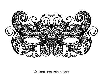 black lineart venetian carnival mask silhouette - hand...