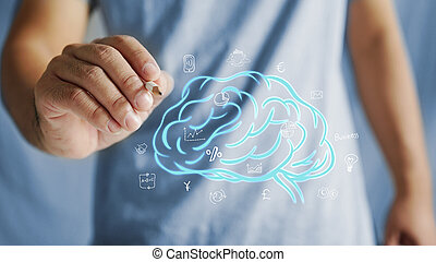hand drawing brain. Concept of self learning