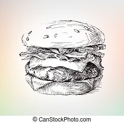 Hand drawing burger with meat and salad