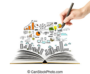scheme and open book - hand drawing business scheme and open...