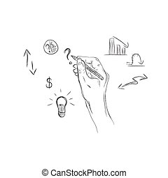 hand drawing, business, sketch