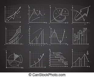 Hand drawing business statistics data graphs, social charts, chalk diagram on blackboard vector set