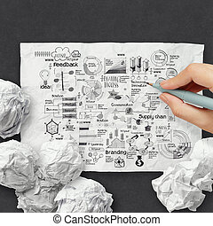 hand drawing business strategy on crumpled paper background as concept