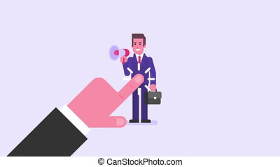 Hand drawing. Businessman holds suitcase and speaks into...