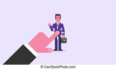 Hand drawing. Businessman showing thumbs up holding suitcase and smiling. Video concept
