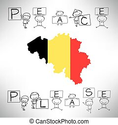 hand drawing cartoon alphabet, Peace Please, with Belgium flag