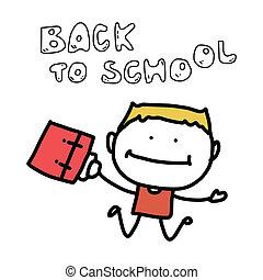 hand drawing cartoon back to school