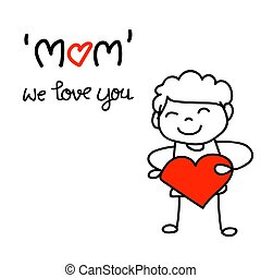 hand drawing cartoon character concept happy mothers day