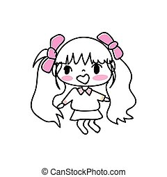 hand drawing cartoon character girl expression