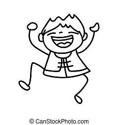 hand drawing cartoon character Happy Chinese New Year
