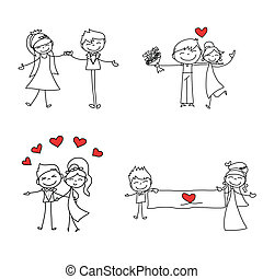hand drawing cartoon character lovers wedding