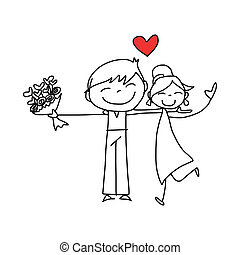 hand drawing cartoon character lovers wedding - hand drawing...