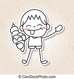 hand drawing cartoon concept happiness, happy kid with big smile vector illustration
