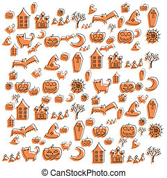 cartoon halloween doodle element