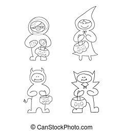 hand drawing cartoon halloween