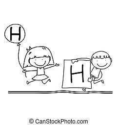hand drawing cartoon happiness alphabet - hand drawing ...