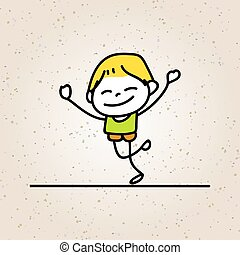 hand drawing cartoon happy boy smile with happiness concept character