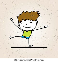 hand drawing cartoon happy boy smile with joy, happiness concept character