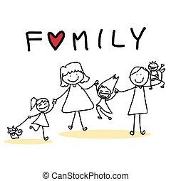 hand drawing cartoon happy family - hand drawing cartoon...