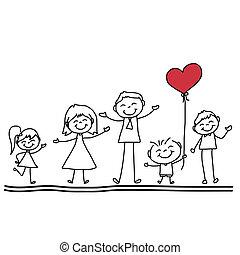 hand drawing cartoon happy family - hand drawing cartoon ...