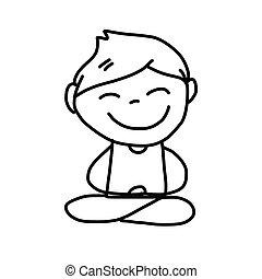 hand drawing cartoon happy kids meditation