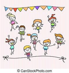 hand drawing cartoon happy kids running marathon