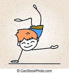 hand drawing cartoon happy people happy boy with happy smile happiness concept character