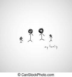 hand drawing cartoon my family