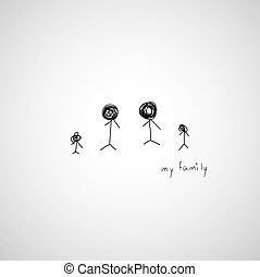 hand drawing cartoon my family