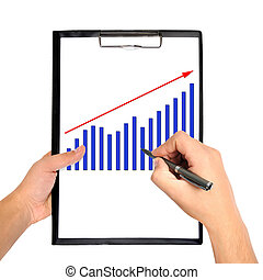 chart on clipboard - hand drawing chart on clipboard