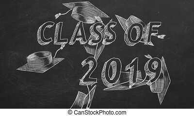 "Class of 2019 - Hand drawing ""Class of 2019"" and graduation..."