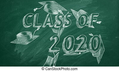 """Hand drawing """"Class of 2020"""" and graduation caps on green chalkboard"""