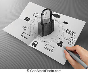 hand drawing cloud network diagram with padlock on crumpled...