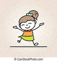 Hand drawing colorful happiness cartoon concept, happy girl, character of kid smile with joy