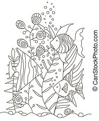 Hand drawing coloring pages for children and adults. A beautiful pattern with small details for creativity. Antistress coloring book with tropical fish, algae, ocean, underwater world