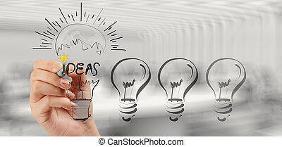 hand drawing creative business strategy with light bulb as conce