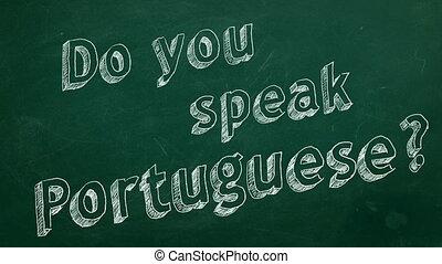 "Do you speak Portuguese? - Hand drawing ""Do you speak..."