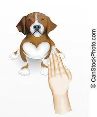 Hand Drawing, Dog Owner Showing The