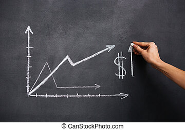 Hand drawing dollar growth chart on blackboard