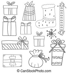 Hand drawing. Doodle. Gifts. Celebration. For your design.