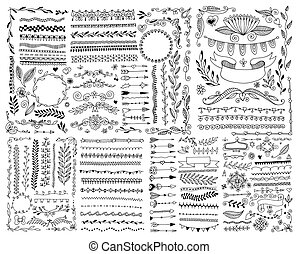hand drawing doodle page decoration, set of vintage elements