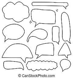hand drawing doodle speech bubble set
