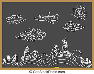 doodle travel background drew on blackboard