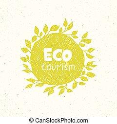 Hand drawing eco tourism logo templates.