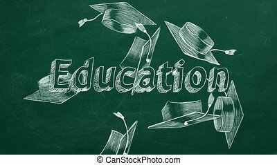 """Hand drawing """"Education"""" and graduation caps on green chalkboard"""