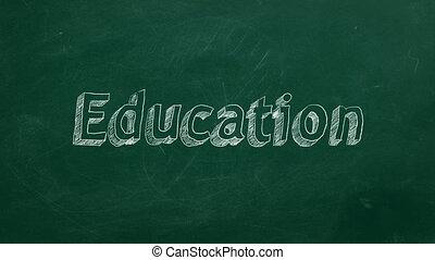 "Education - Hand drawing ""Education"" on green chalkboard"
