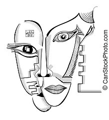 Hand drawing faces in cubism style. Abstract surreal vector...