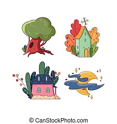 Hand drawing fairy set. Big green oak-tree. Two little houses surrounded by different colorful plants. Bright moon with stars and clouds. Vector in kid s cartoon style